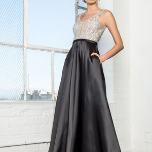 38ac9c34855 Sequin Top Evening Dress with V-Back GL2287